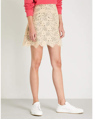 Sandro Scalloped floral-lace skirt