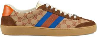 Gucci brown, orange and blue Original GG and suede Web sneakers