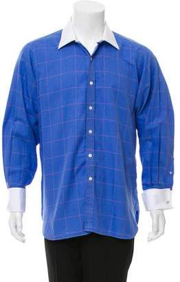 Turnbull & Asser French Cuff Plaid Dress Shirt