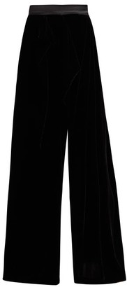 Vika Gazinskaya High Rise Wrap Front Wide Leg Velvet Trousers - Womens - Black