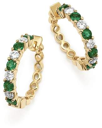 Bloomingdale's Emerald and Diamond Hoop Earrings in 14K Yellow Gold - 100% Exclusive