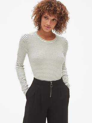 Gap Ribbed Long Sleeve Stripe Crewneck T-Shirt in Modal