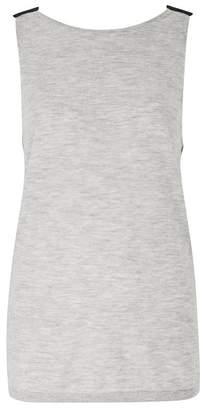 Amanda Wakeley Hathaway Grey Black Cashmere Sleeveless Top