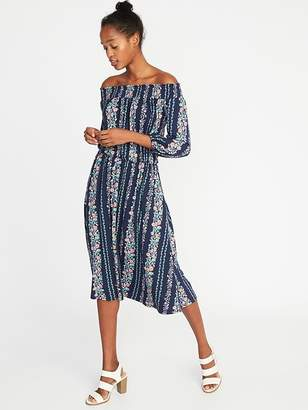 Old Navy Smocked Off-the-Shoulder Waist-Defined Dress for Women