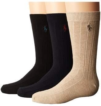 Polo Ralph Lauren Dress Rib Slack 3-Pack Men's Crew Cut Socks Shoes
