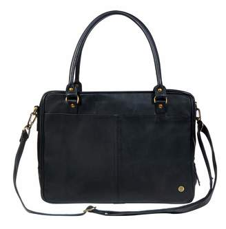 "MAHI Leather - Leather Oxford Zip-Up Satchel Briefcase Bag With 15"" Laptop Capacity In Black"