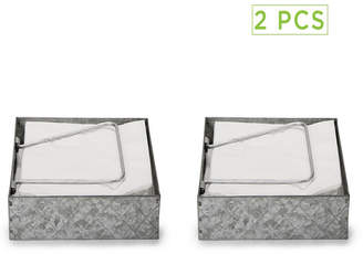 Mind Reader Galvanized Napkin Holder with Pivoted Arm - 2 Pack