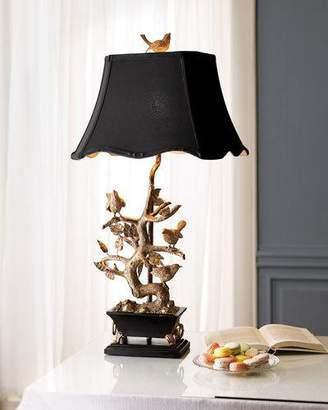 Vince Brass Bird-on-Branch Lamp