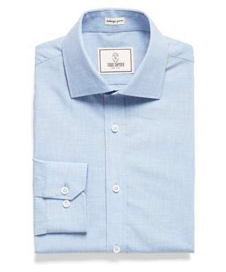 Todd Snyder Spread Collar Dress Shirt in Melange Blue