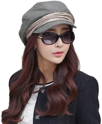 Siggi Comhats Wool Newsboy Cabbie Beret Cap for Women Beret Visor Bill Hat Winter Grey Gray