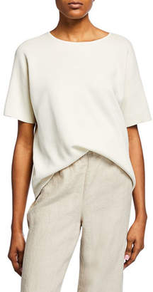 Eileen Fisher Elbow-Sleeve Silk Cotton-Interlock Sweater