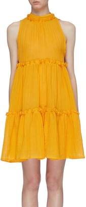 Lisa Marie Fernandez 'Erica' ruffle tiered pleated linen blend sleeveless dress