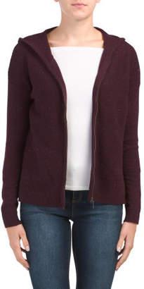 Textured Zip Front Cardigan With Hood