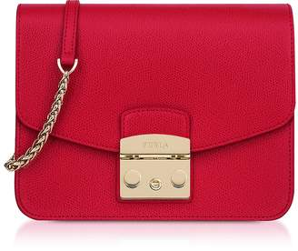 Furla Ruby Red Leather Metropolis Small Crossbody