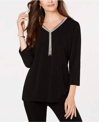 JM Collection Petite Embellished-Neck Top