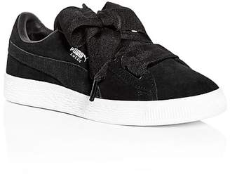 Puma Girls' Heart Suede Lace Up Sneakers - Toddler, Little Kid, Big Kid