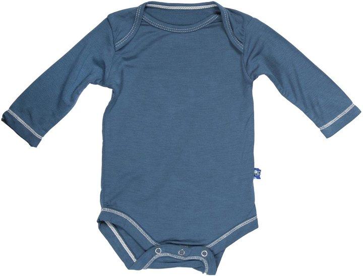 Green Baby KicKee Pants Long Sleeved Bodysuit - Pond-Newborn