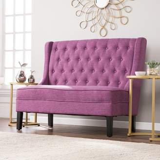 Southern Enterprises Lockley High-Back Tufted Settee Bench, Fuchsia