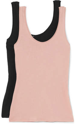 Skin - Set Of Two Organic Pima Cotton-jersey Tanks - Blush