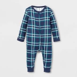 EV Holiday Baby Family Pajama Blue Plaid Footed Sleeper - Blue