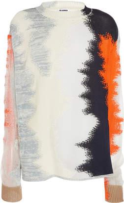 Jil Sander Intarsia-Knit Cotton-Blend Crewneck Sweater