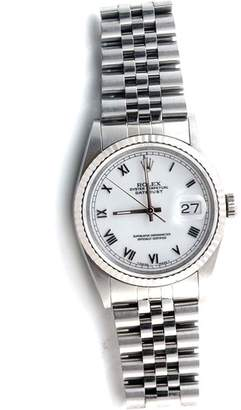 Rolex Datejust 16234 18K White Gold/ Stainless Steel White Roman Dial Jubilee Band 36mm Mens Watch