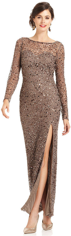 Patra Dress, Long-Sleeve Sequin Gown