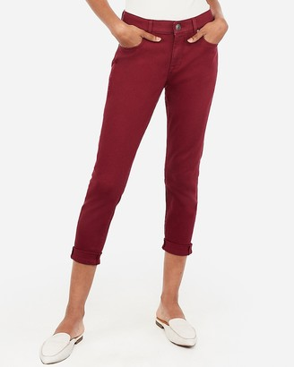 Express Mid Rise Burgundy Cropped Double Roll Leggings