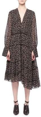 Altuzarra Isabel V-Neck Long-Sleeve Floral-Print Tiered Midi Dress