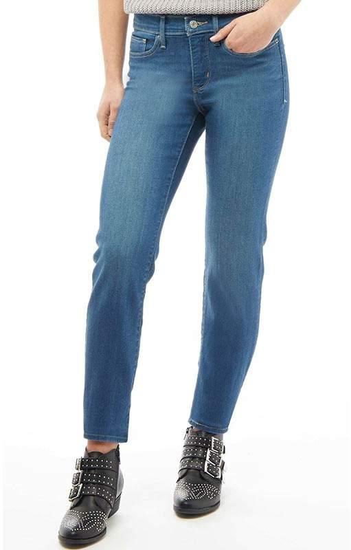 Damen 314 Shaping Jeans mit geradem Bein Mittelblau