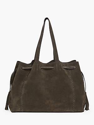 Gerard Darel Leather Simple Point Tote Bag, Khaki
