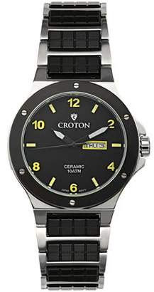 Croton Men's Black Ceramic & Stainless Steel Dress Watch with Day & Date