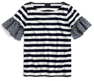 Women's J.crew Ruffle Sleeve Top $45 thestylecure.com