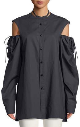 Joseph Ripley Chintz Cotton Shirred Cold-Shoulder Shirt