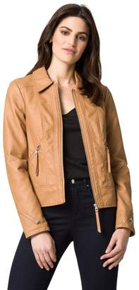 Le Château Women's Faux Leather Edgy Moto Jacket,S