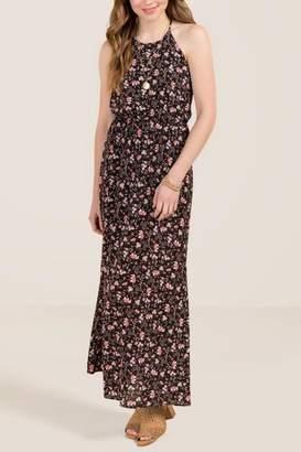 francesca's Stella Eastern Floral Maxi Dress - Black