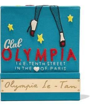Olympia Le-Tan Matchbook Felt-Appliquéd Cotton-Faille Clutch