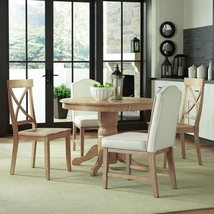 Home Styles 5-Piece Classic Dining Set with Two Upholstered Chairs and Two Wood Chairs in White Wash