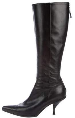 Prada Leather Pointed-Toe Knee-High Boots