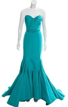 Oscar de la Renta Belted Silk Gown Turquoise Belted Silk Gown