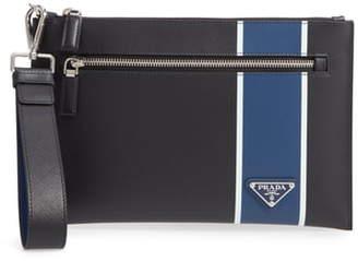 Prada Colorblock Saffiano Leather Wrist Bag