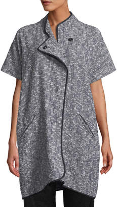 Zero Maria Cornejo Edi Short-Sleeve Button-Front Melange Woven Jacket