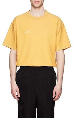 Vetements Men's Logo Cotton Oversized Inside-Out T-Shirt - Yellow
