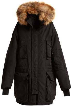 Vetements Bro fur-trimmed hooded double-layer canvas parka