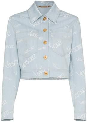 Versace Cropped logo print denim jacket