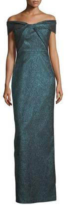 Rickie Freeman For Teri Jon Off-the-Shoulder Metallic Stretch Evening Gown
