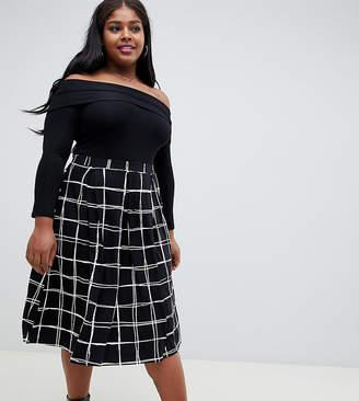 Asos DESIGN Curve midi skirt with box pleats in grid print