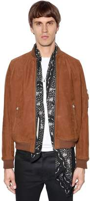 The Kooples Zip-Up Suede Bomber Jacket