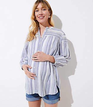 LOFT Maternity Mixed Stripe Smocked Shirt