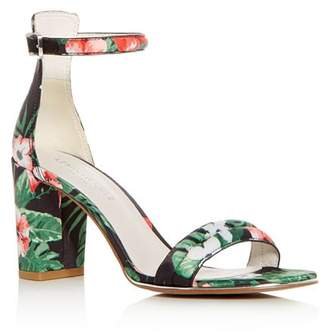 Kenneth Cole Women's Lex Floral Print Satin Block Heel Sandals